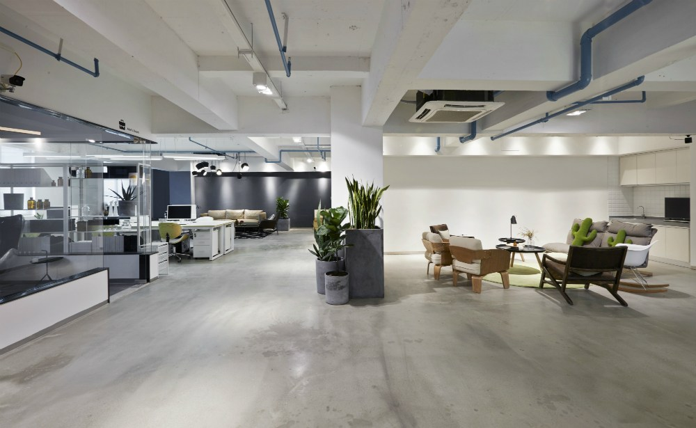 polished concrete floor in office building